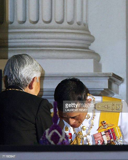 Japanese Emperor is welcomed by Thai Crown Prince Maha Vajiralongkorn at the Grand Palace in Bangkok, 13 June 2006 for the official banquet. Royalty...