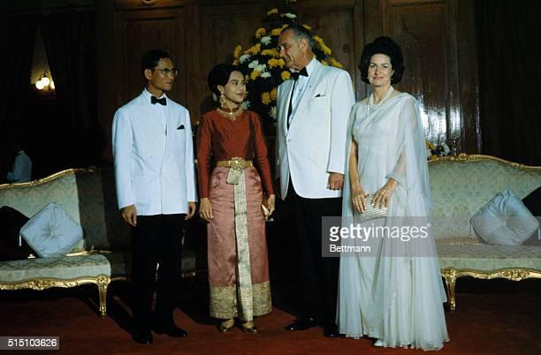 President Lyndon B Johnson poses with King Bhumibol and Queen Sirikit of Thailand at the Sala Sahathai Palace before a dinner Lyndon B Johnson and...
