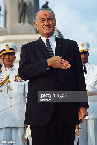 Bangkok, Thailand: President Lyndon B. Johnson visits Victory Monument, inspects troops and lays a wreath at the monument.