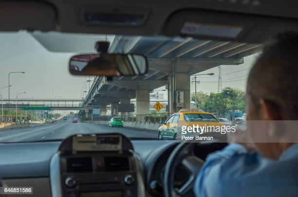 Bangkok Thailand, street view from taxi, day