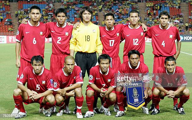 Thai football team players from left back row Nataporn Phanrit Suree Sukha Kosin Hathairattnankool Sutee Suksomkit Nirut Surasiang Jetsada Jitsawad...