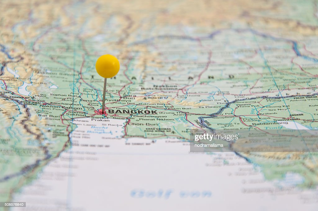 Bangkok, Thailand, Yellow Pin, Close-Up of Map. : Stockfoto