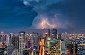 Bangkok view when thunder with modern business building along the Chao Phraya river, Bangkok is beautiful city in Southeast Asia. Bangkok , Thailand.