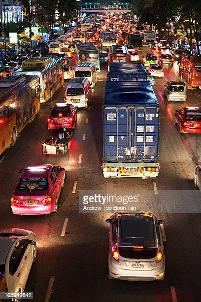 Bangkok's infamous traffic jam along Ratchadamri Road, outside the Central World shopping complex in the evening, as city folks rush for dinner.