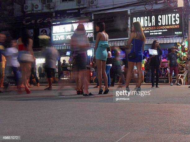 bangla road nightlife scene, patong - thailand - asian miniskirt stock photos and pictures