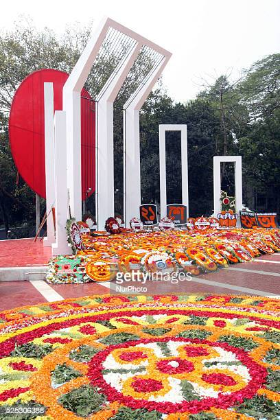 Bangladesh 21th February 2015 The martyr's monument Central Shaheed Minar is decorated with flowers as an homage by thousands of Bangladeshi people...