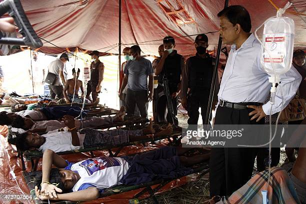 Bangladesh Ambassador MD Nazmul Quainine visit Rohingya people receiving medical treatment at temporary shelter on May 17 2015 in Langsa Aceh...