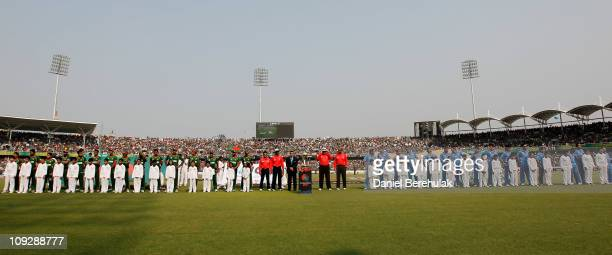 Bangladesh and India cricket teams line up during the opening game of the ICC Cricket World Cup between Bangladesh and India at the ShereeBangla...