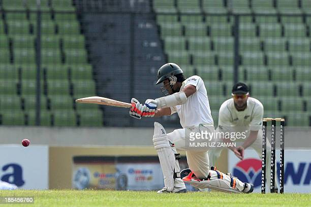 Bangladesh batsman Anamul Haque plays a shot during the first day of the second cricket Test match between Bangladesh and New Zealand at the Shere...