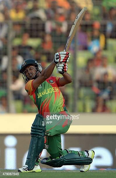 Bangladesh batsman Anamul Haque plays a shot during the ICC World Twenty20 tournament cricket match between Afghanistan and Bangladesh at The...