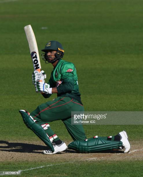 Bangladesh batsman Mahmudullah hits out during the ICC Cricket World Cup 2019 Warm Up match between Bangladesh and India at Cardiff Wales Stadium on...