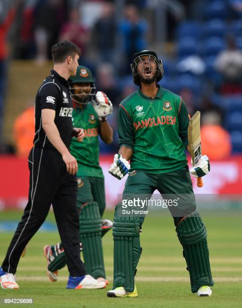 Bangladesh batsman Mohammad Mahmudullah celebrates after hitting the winning runs during the ICC Champions Trophy match between New Zealand and...