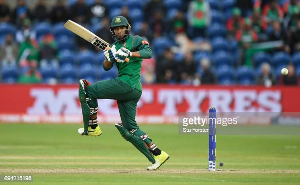 Bangladesh batsman Mohammad Mahmudullah hits out during the ICC Champions Trophy match between New Zealand and Bangladesh at SWALEC Stadium on June 9...