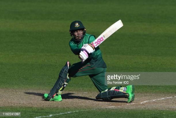 Bangladesh batsman Mushfiqur Rahim hits out during the ICC Cricket World Cup 2019 Warm Up match between Bangladesh and India at Cardiff Wales Stadium...