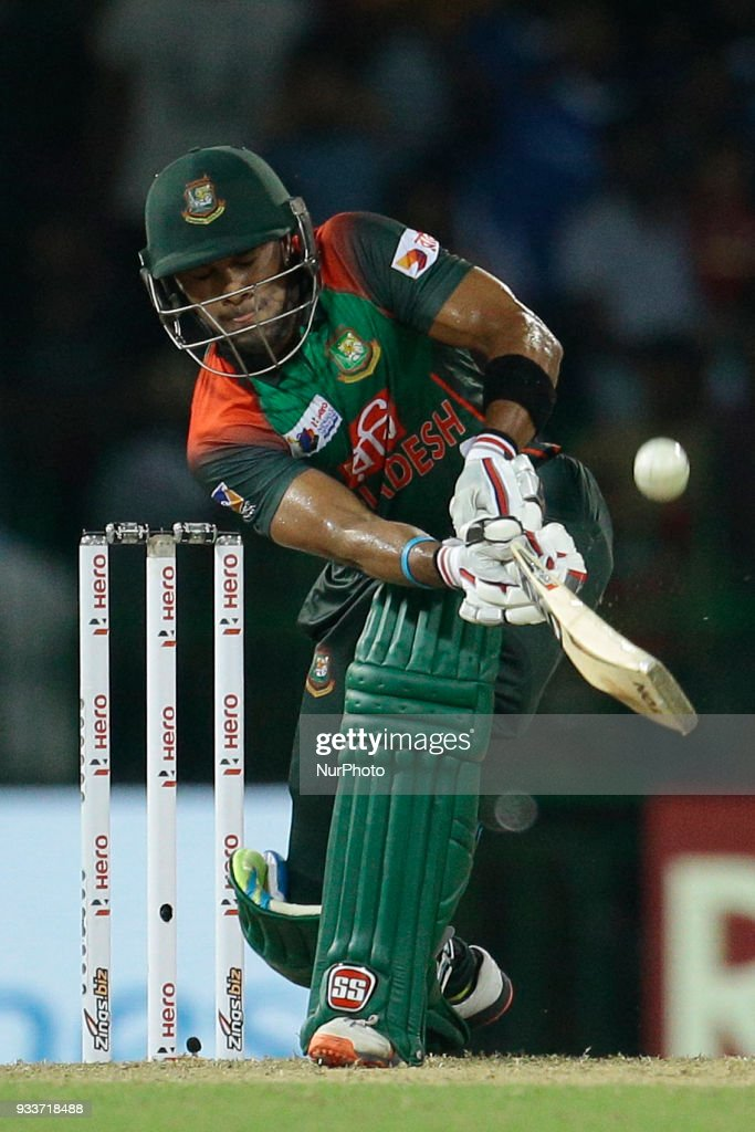 Bangladesh batsman Sabbir Rahman plays a shot during the final Twenty-20 cricket match of NIDAHAS Trophy between Bangladesh and India at R Premadasa cricket ground, Colombo, Sri Lanka on Sunday 18 March 2018.
