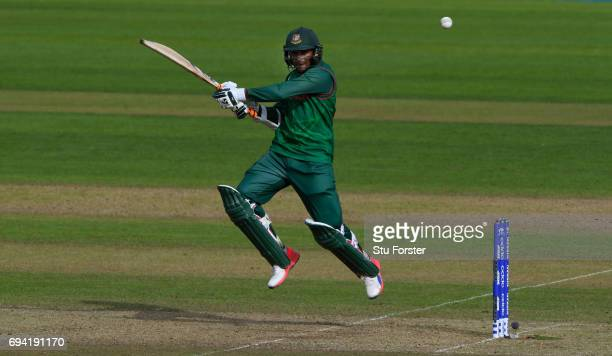 Bangladesh batsman Shakib Al Hasan hits out during the ICC Champions Trophy match between New Zealand and Bangladesh at SWALEC Stadium on June 9 2017...