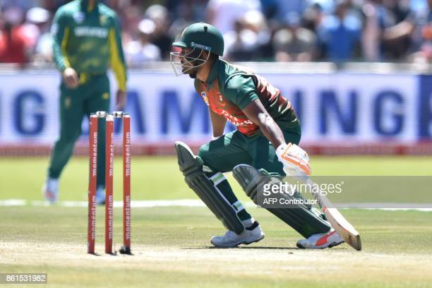 Bangladesh batsman Shakib Al Hasan is in action during the first One Day International cricket match between South Africa and Bangladesh in Kimberley...