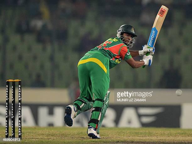 Bangladesh batsman Shakib Al Hasan plays a shot during the first OneDay International cricket match between Bangladesh and Sri Lanka at the...
