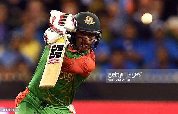 Bangladesh batsman Soumya Sarkar drives a delivery from the Indian bowling during their 2015 Cricket World Cup quarterfinal match in Melbourne on...