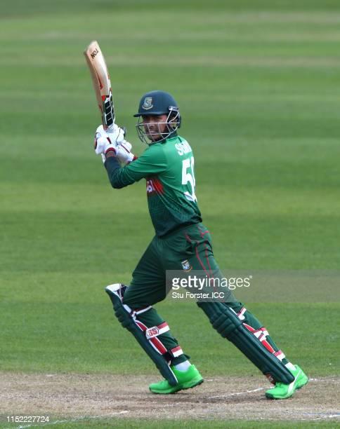 Bangladesh batsman Soumya Sarkar hits out during the ICC Cricket World Cup 2019 Warm Up match between Bangladesh and India at Cardiff Wales Stadium...