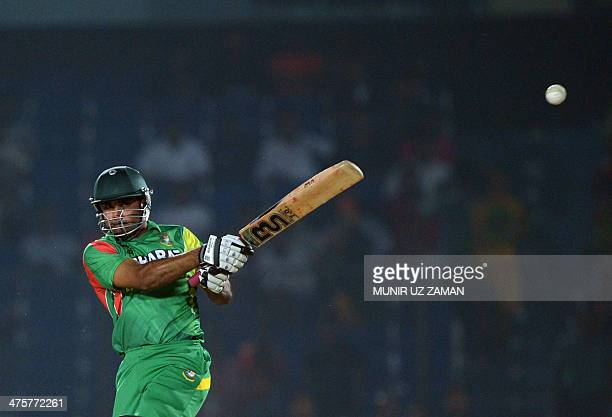 Bangladesh batsman Ziaur Rahman plays a shot during the fifth match of the Asia Cup oneday cricket tournament between Bangladesh and Afghanistan at...