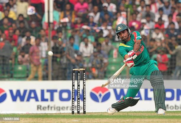 Bangladesh batsman Ziaur Rahman plays a shot during the third OneDay International cricket match between Bangladesh and New Zealand at Khan Jahan Ali...