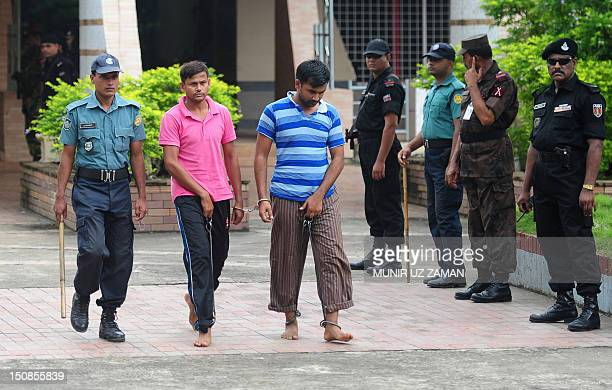 Bangladesh Border Guard soldiers on trial leave a special court at the BDR headquarters in Dhaka on August 28 2012 A special court is delivering...