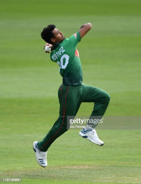 Bangladesh bowler Mustafizur Rahman in action during the ICC Cricket World Cup 2019 Warm Up match between Bangladesh and India at Cardiff Wales...