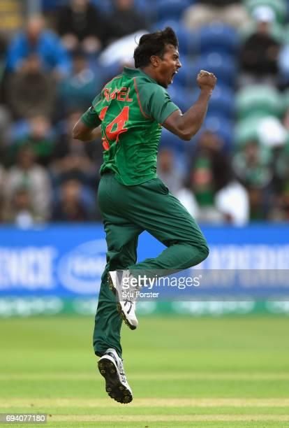 Bangladesh bowler Rubel Hossain celebrates after dismissing New Zealand batsman Martin Guptill during the ICC Champions Trophy match between New...