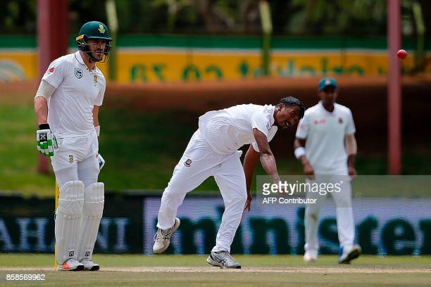 Bangladesh bowler Rubel Hossain delivers to South Africa batsman Hashim Amla during the second day of the second Test Match between South Africa and...