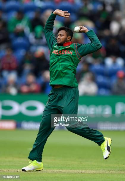 Bangladesh bowler Shakib Al Hasan in action during the ICC Champions Trophy match between New Zealand and Bangladesh at SWALEC Stadium on June 9 2017...