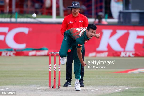 Bangladesh bowler Taskin Ahmed bowls on South African batsman Mangaliso Mosehle during the second T20 Match between South Africa and Bangladesh on...