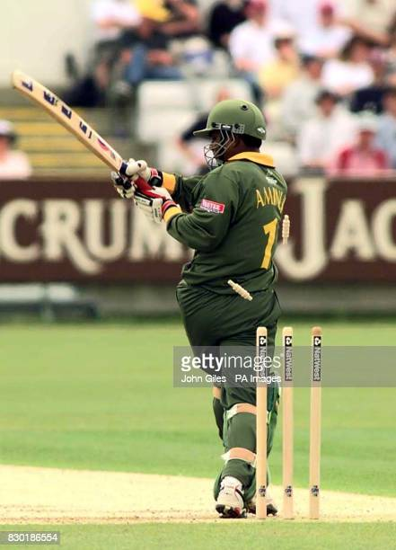 Bangladesh Captain Aminul Islam loses his wicket to Damien Fleming of Australia during their Cricket World Cup Match at ChesterleStreet in Durham