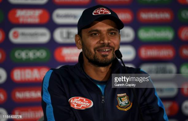 Bangladesh captain Mashrafe Mortaza speaks to media during a press conference at Cardiff Wales Stadium on June 07 2019 in Cardiff Wales