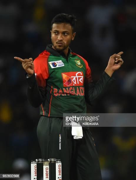 Bangladesh captain Shakib Al Hasan celebrates after dismissing Sri Lanka's Danushka Gunathilaka during the sixth Twenty20 international cricket match...