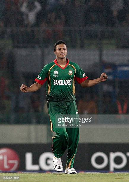 Bangladesh captain Shakib Al Hasan celebrates the dismissal of William Porterfield of Ireland during the 2011 ICC World Cup Group B match between...