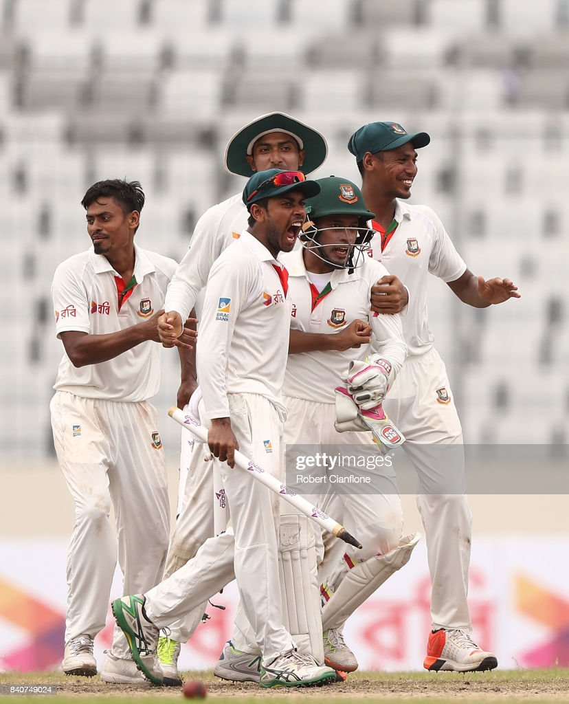 Bangladesh celebrate after they defeated Australia during day four of the First Test match between Bangladesh and Australia at Shere Bangla National Stadium on August 30, 2017 in Mirpur, Bangladesh.