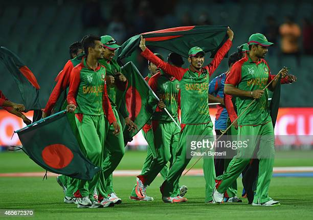 Bangladesh celebrate after winning the 2015 ICC Cricket World Cup match between England and Bangladesh at Adelaide Oval on March 9, 2015 in Adelaide,...