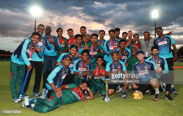 Bangladesh celebrate after winning the ICC U19 Cricket World Cup Super League Final match between India and Bangladesh at JB Marks Oval on February...