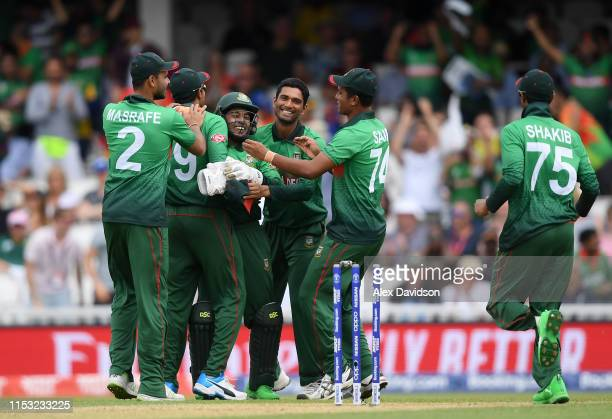 Bangladesh celebrate the run out of Quinton De Kock of South Africa during the Group Stage match of the ICC Cricket World Cup 2019 between South...