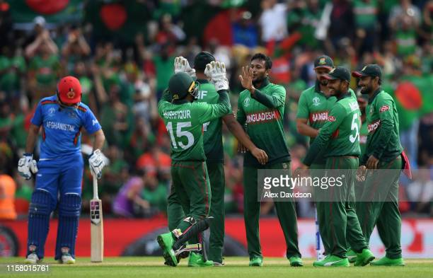 Bangladesh celebrate the wicekt of Mohammad Nabi during the Group Stage match of the ICC Cricket World Cup 2019 between Bangladesh and South Africa...