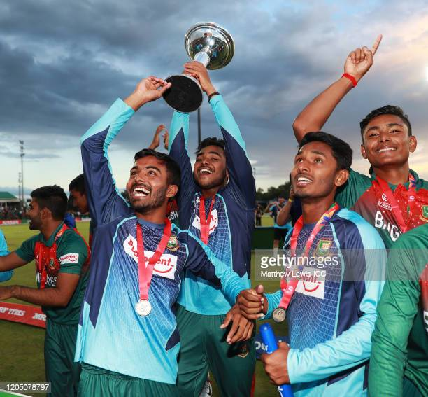 Bangladesh celebrate their win over India after the ICC U19 Cricket World Cup Super League Final match between India and Bangladesh at JB Marks Oval...