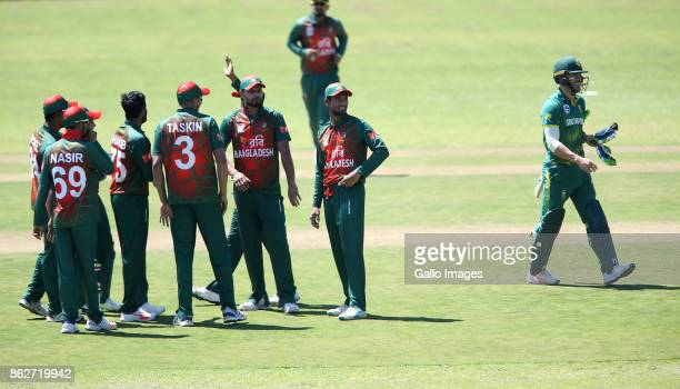 Bangladesh celebrates during the 2nd Momentum ODI match between South Africa and Bangladesh at Boland Park on October 18 2017 in Paarl South Africa