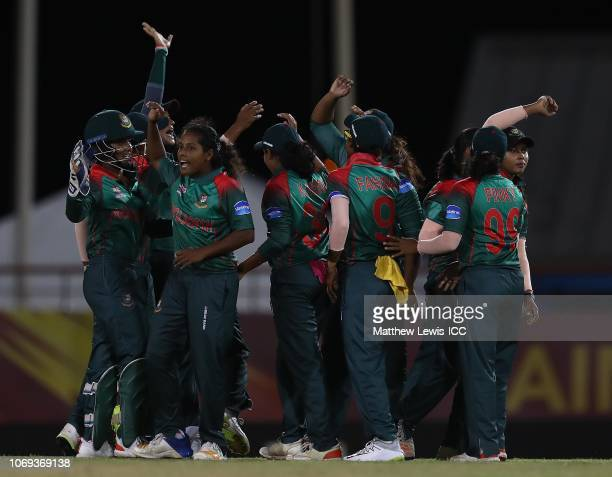 Bangladesh celerate the wicket of Lizelle Lee of South Africa after she was run out during the ICC Women's World T20 2018 match between South Africa...