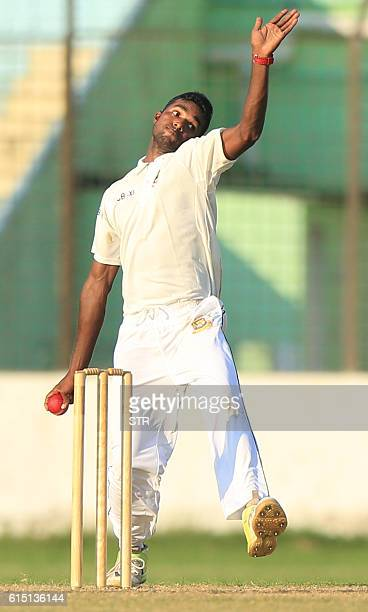 Bangladesh Cricket Board XI cricketer Ebadat Hossain delivers the ball during the warmup match between England XI and BCB XI at the MA Aziz Stadium...