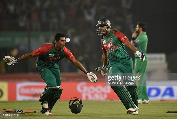 Bangladesh cricket captain Mashrafe Bin Mortaza and Mohammad Mahmudullah celebrate for winning the match as the Pakistan cricket captain Shahid...