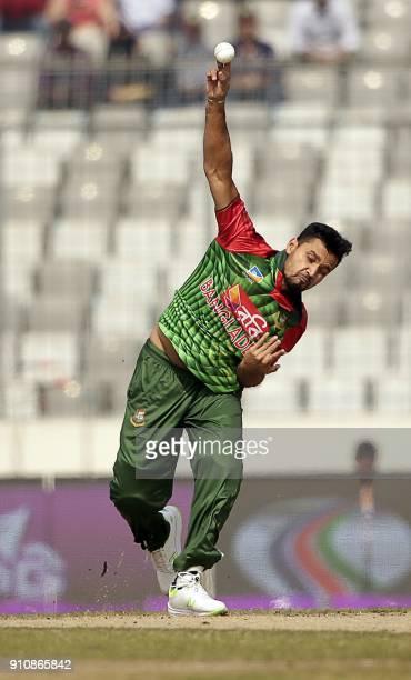 Bangladesh cricket captain Mashrafe Bin Mortaza bowls during the final one day international cricket match in the TriNations Series between Sri Lanka...