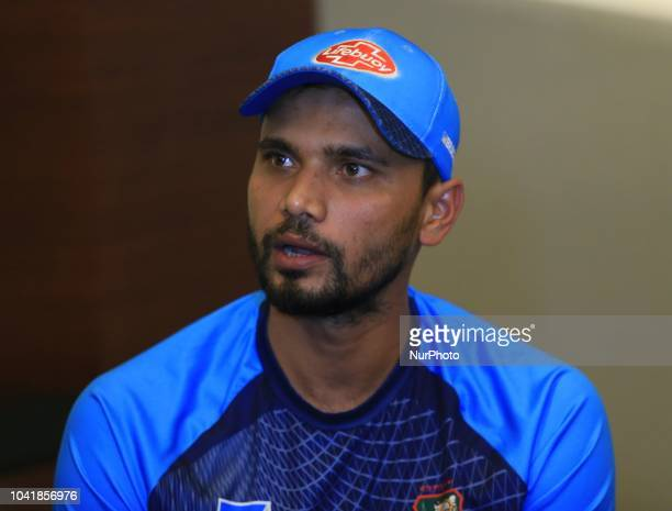 Bangladesh cricket captain Mashrafe Mortaza speaks to the media ahead of the final cricket match of Asia Cup 2018 Dubai UAE