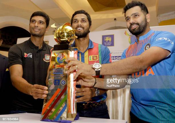 Bangladesh cricket captain Mohammad Mahmudullah Riyad Sri Lankan cricket captain Dinesh Chandimal and Indian cricket captain Rohit Sharma pose for a...