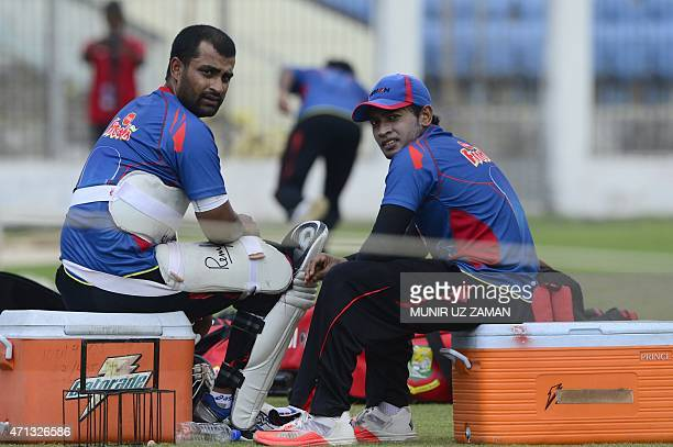 Bangladesh cricket captain Mushfiqur Rahim and Tamim Iqbal look on during a practice session ahead of the first Test against Pakistan at the Sheikh...
